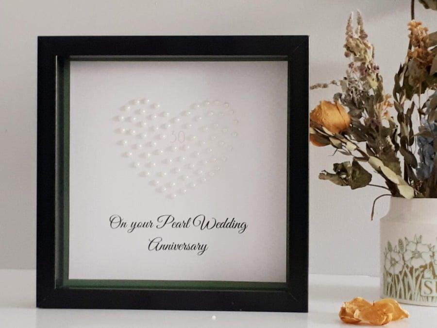 Online Wedding Gift: Personalised Pearl Heart Wedding Anniversary Gift